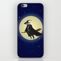 Old witch and hers black cat flying on a broom. Halloween illustration. iPhone Skin
