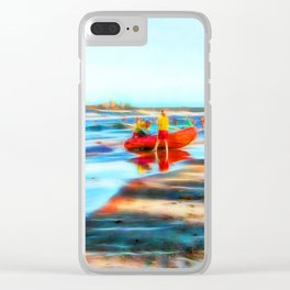 Surf Rescue on beautiful beach Clear iPhone Case