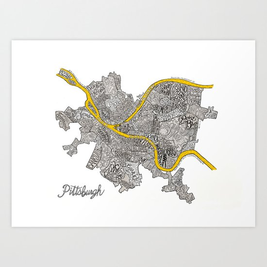 Pittsburgh Neighborhoods   3 Gold Rivers by runwithitcreative
