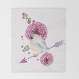 Cute Bird and Dandelion Throw Blanket