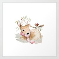 craftberrybush Art Prints featuring Watercolor Christmas fawn by craftberrybush