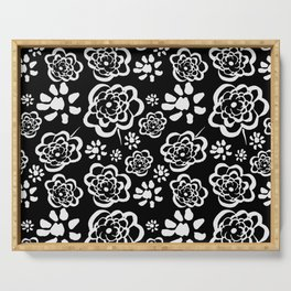 Flowers on Black Serving Tray