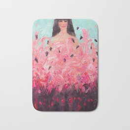 Pink Thoughts (A girl with flamingos) Bath Mat