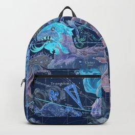 Star Atlas Vintage Constellation Map Blue Ignace Gaston Pardies Backpack