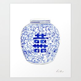 Blue and White China Ginger Jar 8 Art Print