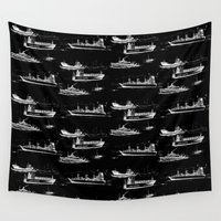 ships Wall Tapestries featuring Mediterranean Ships - White on Black by EVILJAZZMIDGET