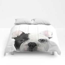 French Bulldog Dog illustration original painting print Comforters
