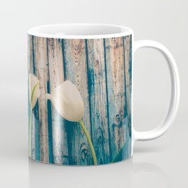 White Easter Tulip Flowers on Wooden Blue Old Planks Coffee Mug