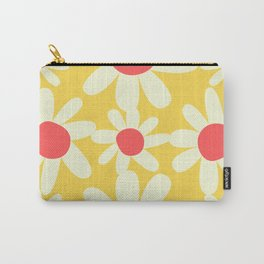 Yellow, Coral, and White Floral Pattern Design by Christie Olstad Carry-All Pouch