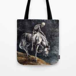 Skeleton Riding a Pale Horse Tote Bag