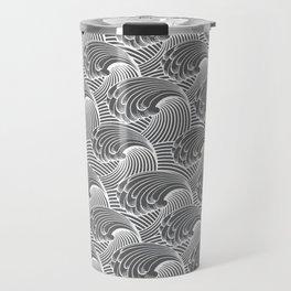 Vintage Japanese Waves, Gray / Grey and White Travel Mug