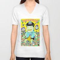 cafe V-neck T-shirts featuring cafe veloz by ALVAREZ