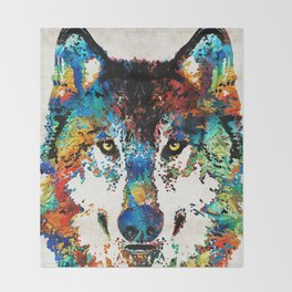 Wolf Art Print - Hungry - By Sharon Cummings Throw Blanket
