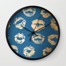 Metallic Gold Lips in Orange Sherbet and Saltwater Taffy Teal Shimmer Wall Clock
