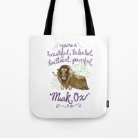 leslie knope Tote Bags featuring Leslie Knope Compliments: Musk Ox by Shebanimal