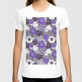 Violet Anemones in Grey T-shirt