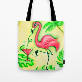 Flamingo Sipping a Pink Martini Tote Bag