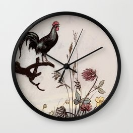 The Rooster crows and wakes the pixies Wall Clock