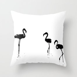 We Are The Three Flamingos Silhouette In Black Throw Pillow