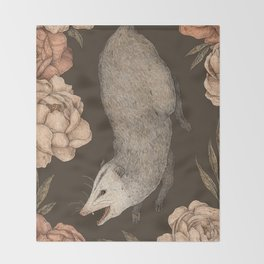 The Opossum and Peonies Throw Blanket