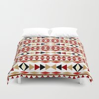 navajo Duvet Covers featuring Navajo White Pattern Art by Christina Rollo