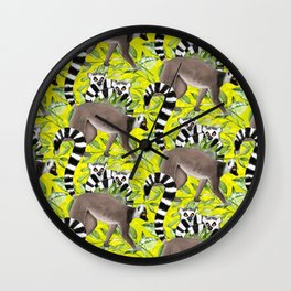 Ring-tailed Lemurs in the Jungle Wall Clock