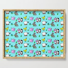 Farmyard Animals On Blue Background Serving Tray