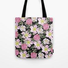 Vintage Rose Pattern Pink On Chalkboard Tote Bag