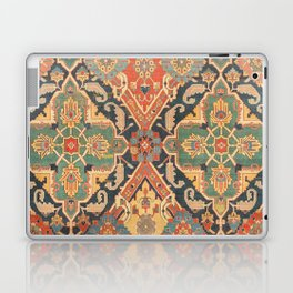 Geometric Leaves VIII // 18th Century Distressed Red Blue Green Colorful Ornate Accent Rug Pattern Laptop & iPad Skin
