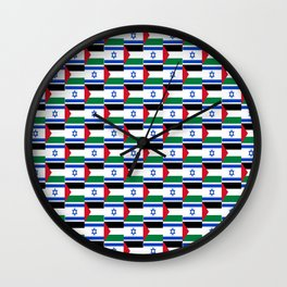 Mix of flag : Israel and Paslestine Wall Clock
