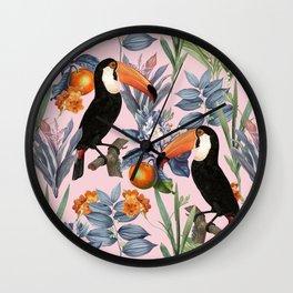 Tucan Garden #pattern #illustration Wall Clock
