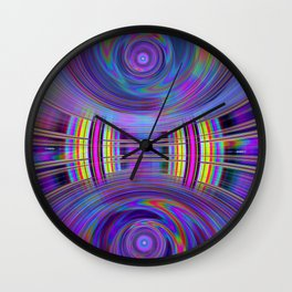 Dynamic fractal abstract in rainbow colors Wall Clock