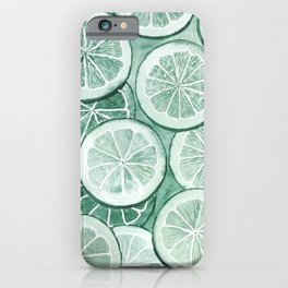 Watercolor green lime monochrome background iPhone Case