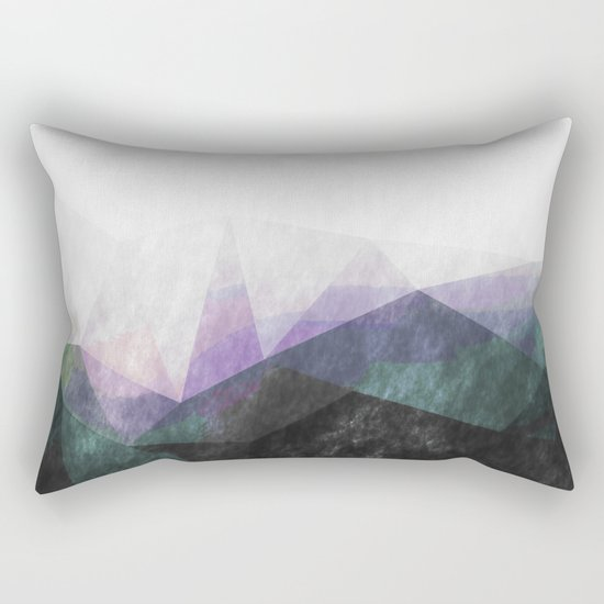 On the mountains- green watercolor - triangle pattern Rectangular Pillow