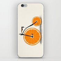 orange iPhone & iPod Skins featuring Vitamin by Florent Bodart / Speakerine