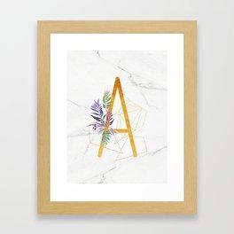 Modern glamorous personalized gold initial letter A, Custom initial name monogram gold alphabe Framed Art Print