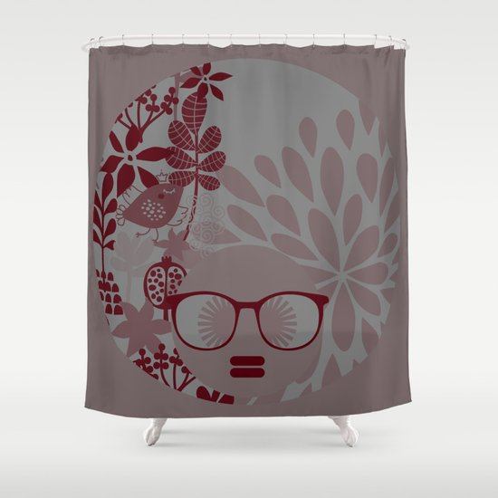 Afro Diva Burgundy Sophisticated Lady Shower Curtain By Bsavvy