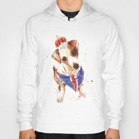 jack russell Hoodies featuring LONDON - Jack Russell Art - Union Jack by eastwitching