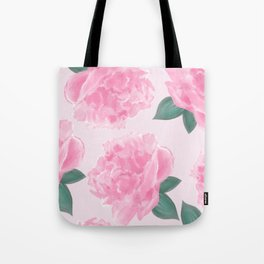 Pink Peonies on Pink Abstract Tote Bag