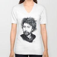 radiohead V-neck T-shirts featuring Thom Yorke [Radiohead] by ieIndigoEast