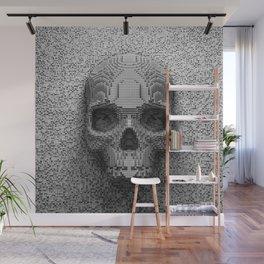 Pixel Skull B&W Wall Mural