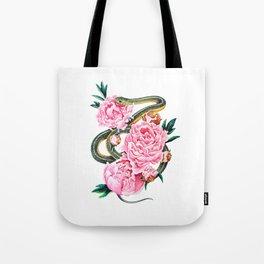 Garter Snake and Peonies Tote Bag