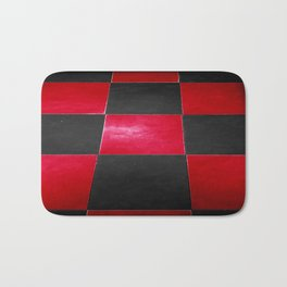 Red and Black Checkers Bath Mat