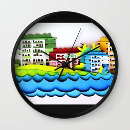 Rainbow Houses Wall Clock