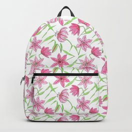 Watercolor sketched lily flowers seamless pattern Backpack
