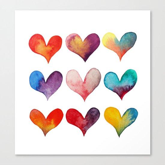 color of hearts Canvas Print