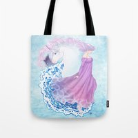the last unicorn Tote Bags featuring Last Unicorn by Roots-Love