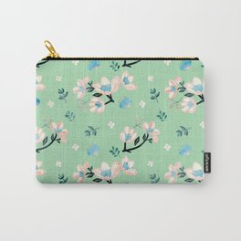 Be who you want to be - pastel flowers in mint Carry-All Pouch