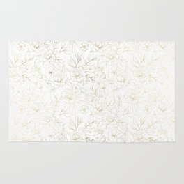 Elegant simple modern faux gold white floral Rug