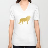 gold foil V-neck T-shirts featuring Gold Foil Lion by Mod Pop Deco